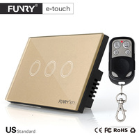 Funry US Standard 2 Gang Wireless Touch Remote Control Wall Light Switch 15M Control AC110 250V