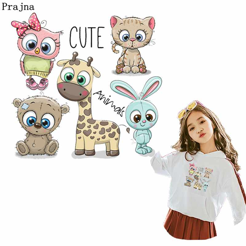 Prajna Cartoon Animals Iron On Transfer Cute Cat Unicorn Owl Summer Style Heat Fox Stickers Clothes For Kids T-shirt