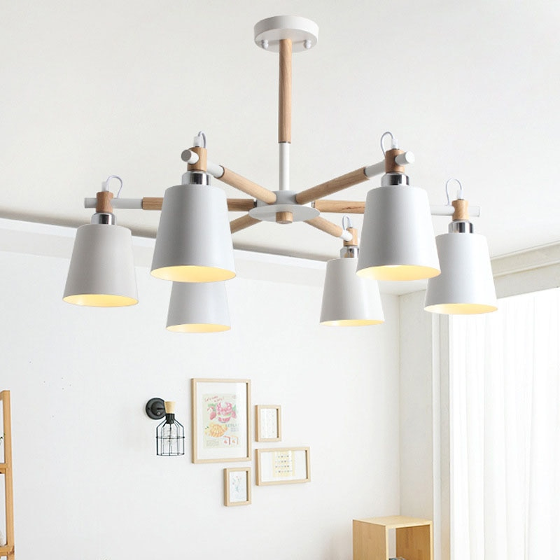 Nordic minimalista metallo e staffa di legno lampadario lampadario E27 colorato lampadari per la cucina soggiorno camera da letto studio