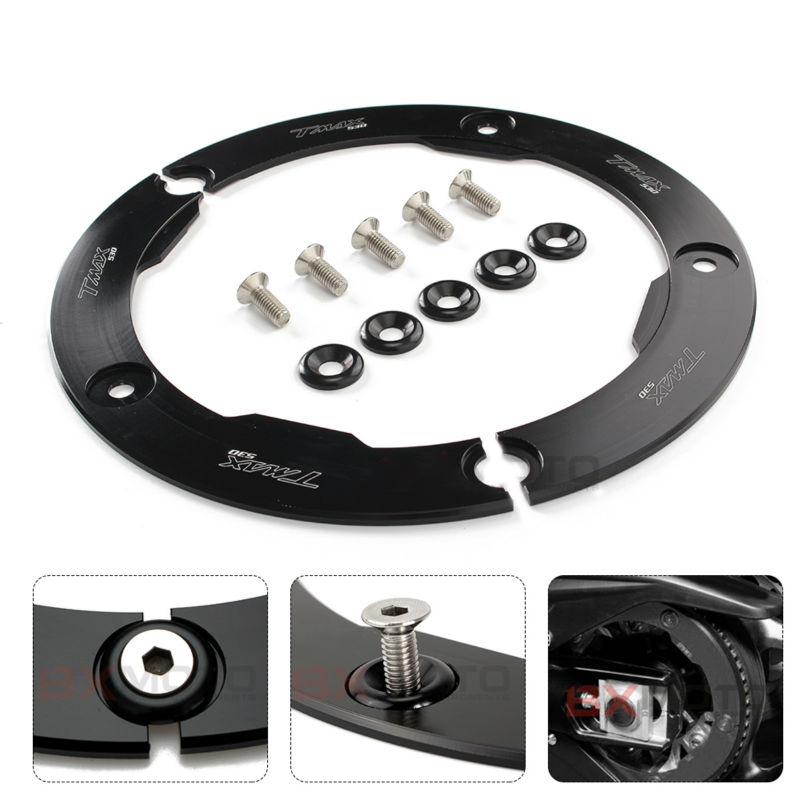 MDMOTO black CNC motorcycle accessories Transmission Belt Pulley Cover For Yamaha tmax 530 2012-2017 t max t-max 530 tmax530 motorcycle accessories new parts transmission belt pulley protective cover blue for yamaha t max 530 tmax530 t max530 2012 2015