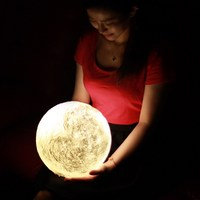 3D Print LED Moon Light Touch Switch LED Bedroom Night Lamp Novelty Light for Baby Kids Children Christmas Home Decoration