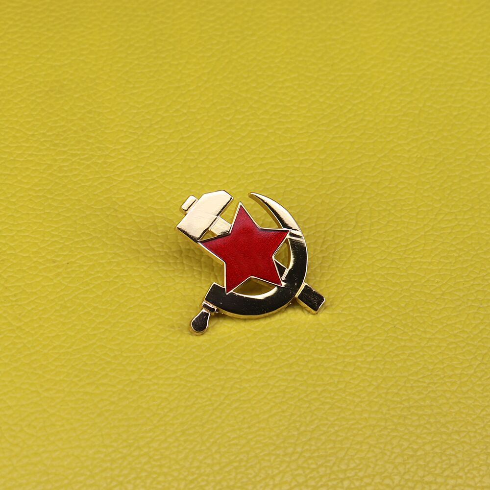 Soviet Communism Badge USSR Red Star Pin Sickle And Hammer Brooch Men Patriot Jewelry Gift