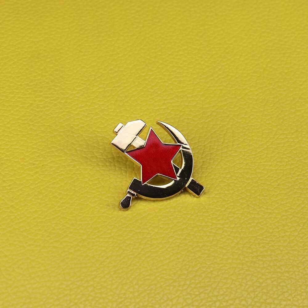 Soviet Komunisme Lencana Uni Soviet Bintang Merah Pin Sabit dan Palu Bros Pria Patriot Perhiasan Hadiah