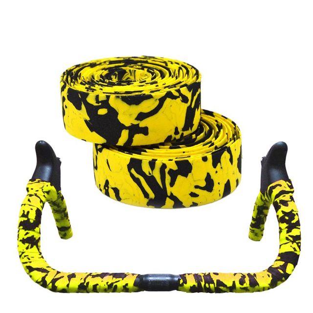 Road Bike Bicycle Handlebar Tape Camouflagebelt Cycling Handle Belt Cork Wrap with Bar Plugs non slip absorb sweat 4