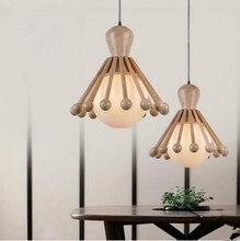 Креативный СВЕТОДИОДНЫЙ Деревянные Подвесные Светильники Для Спальни Столовой Подвесной Светильник Светильник Lamparas Colgantes