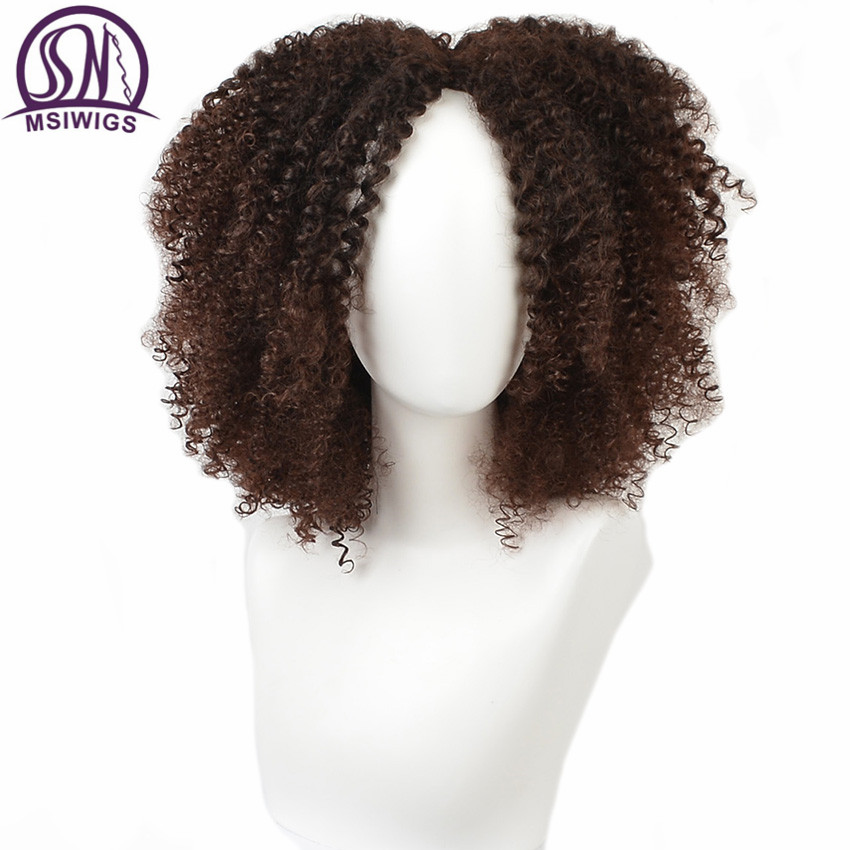 MSIWIGS Curly-Wigs Afro Wig Short Black Hair Brown Synthetic Ombre African Women American-14-Inches title=