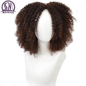MSIWIGS Brown Synthetic Curly Wigs for Women 4 Colors Ombre Short Afro Wig African American 14 Inches Black Hair(China)