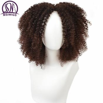 MSIWIGS brązowe syntetyczne kręcone peruki dla kobiet 4 kolory Ombre krótki peruka afro afroamerykanów naturalne 14 cali czarne włosy tanie i dobre opinie 1 sztuka tylko Wysokiej Temperatury Włókna Żyłka Przezroczysty 150 Średnia wielkość MSI399 None Lace Wigs