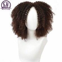 Msiwigs Bruin Synthetische Kinkly Krullend Pruiken Voor Vrouwen 4 Kleuren Ombre Blonde Korte Afro Pruik Afro amerikaanse Black Midden Deel haar