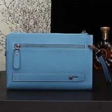 2016 Fashion Women Men Business Affairs Genuine Leather Letter M Long Wallet Handbag Card Money Holder Clutch Purse Wallets Bag