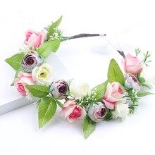 Bride wedding flower wreath bridesmaid children girl crown adjustable Kids headdress photo studio garland