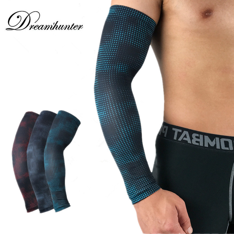 Compression Arm Sleeves Men Women Running Cycling Arm Warmer Basketball Gym Elbow Guards Support Elastic Cover Sun UV Protection
