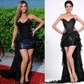 Beyonce Vestido de Obsessed Premiere V Cuello Negro Gasa Con Lentejuelas Alto Bajo Vestido de Fiesta Vestido de la Alfombra Roja