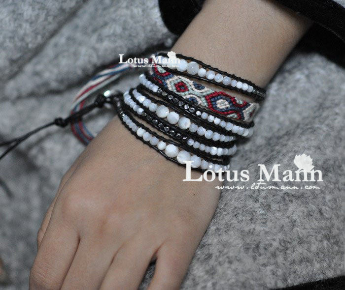 Lotusmann classic black and white natural pearl shell gun beads black leather cord 5 wraps
