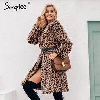 Simplee Luxury leopard faux fur women long coat Winter warm pocket artificial fur coat Elegant plush party oversize coat 2019