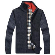 Brand New Warm Thick Velvet Cashmere Sweaters Men Pullovers Zipper Mandarin Collar Man Casual Clothes Solid Knitwear Coat