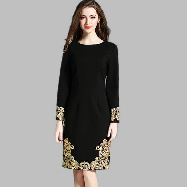 Us 25 22 50 Off 2018 High Quality Spring Plus Size Black Dress Women Runway Gold Embroidery Long Sleeve Elegant Midi Party Vestidos Df401 In