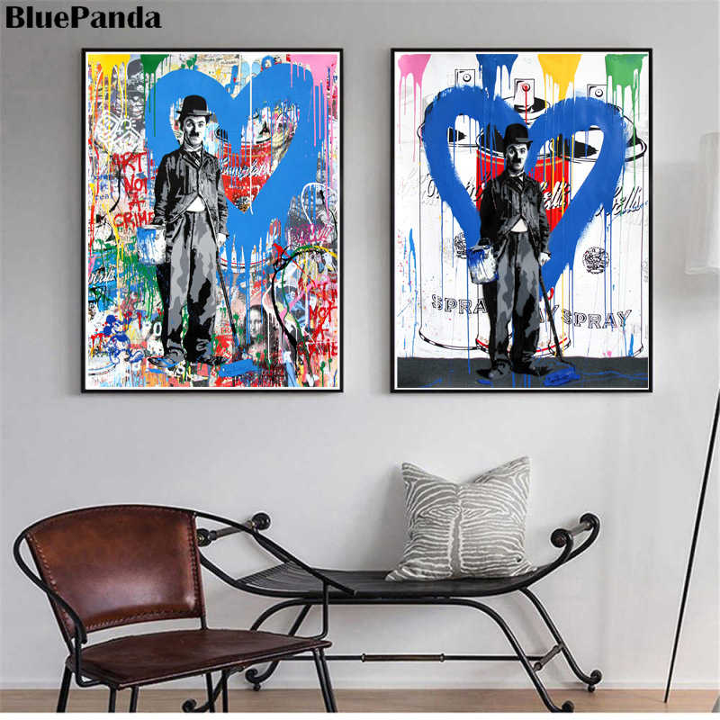 Banksy Canvas Graffit Street Artist Mr. Brainwash HD Canvas Painting Charlie Chaplin Art Pictures For Living Room Home Decor