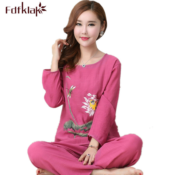 Fdfklak XL XXL 3XL 4XL Plus Size Cotton Linen Pijamas Spring Autumn Long Sleeve Print Family   Pajama     Set   Sleepwear Tracksuit Q525