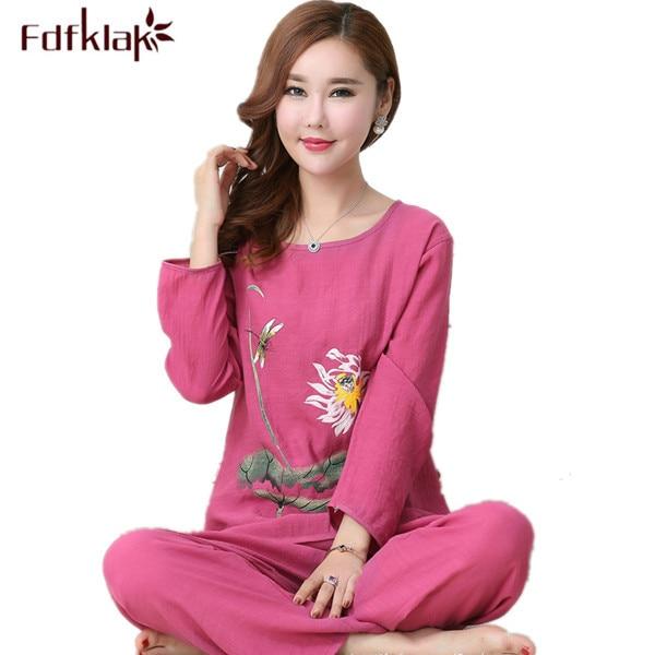 e5d8057a22979 Fdfklak XL XXL 3XL 4XL Plus Size Cotton Linen Pijamas Spring Autumn Long  Sleeve Print Family Pajama Set Sleepwear Tracksuit Q525-in Pajama Sets from  ...