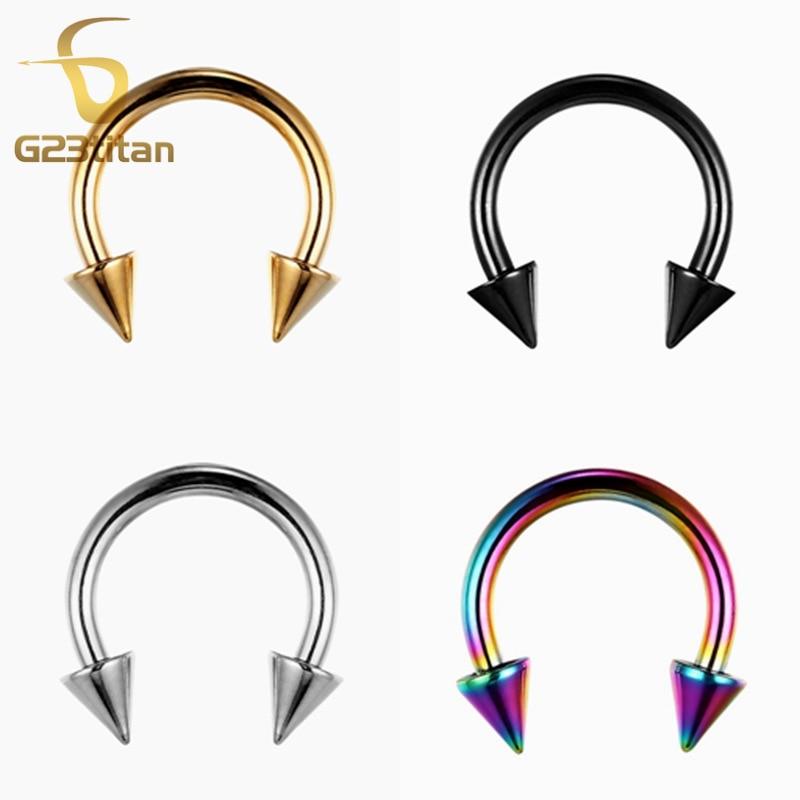 G23titan G23 Titanium cirkulär skivstång med kottar Nosringar och nackar Body Piercing smycken SGS-certifiering