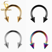 Free Shipping! G23 Titanium Circular Barbell Nose Rings & Studs With Cone Body Piercing Jewelry