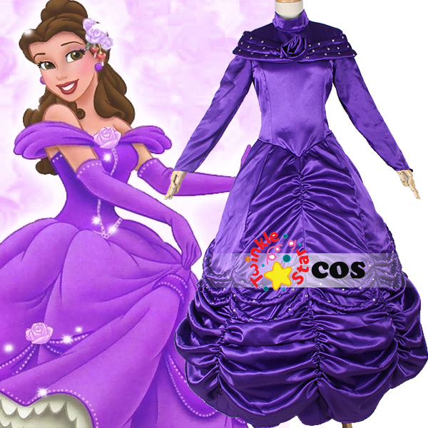 halloween costumes for women princess cosplay costume beauty and the beast princess belle purple dress belle