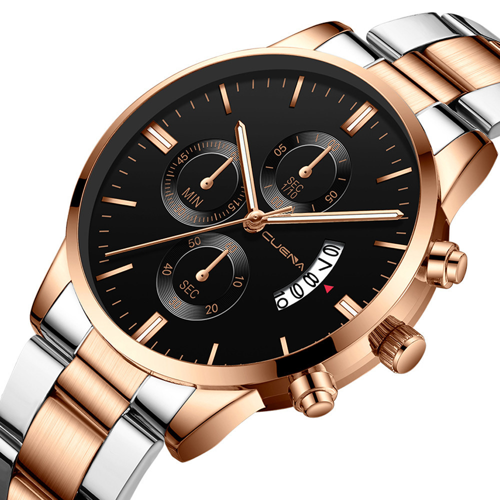 CUENA hommes montre-bracelet mode militaire en acier inoxydable analogique Date Sport montre à Quartz homme Reloj Hombre 2019 hommes montre-bracelet horloge