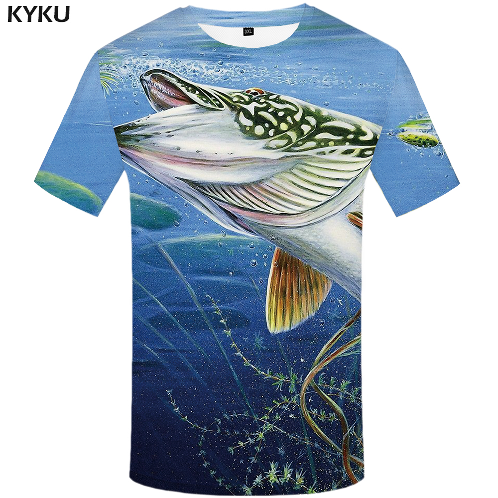 KYKU Fish   T     Shirt   Men Ocean 3d   T  -  shirt   Animal Hip Hop Tee Fishinger Printed Tshirt Funny Tracksuits Gothic Mens Clothing Summer