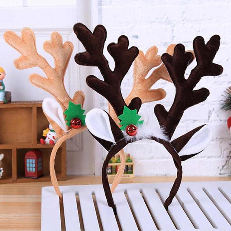 0781a7a2a4003 Christmas Reindeer Headband Horns Cosplay Antlers Hair Hoop Deer Ears  Branches Head band Xmas Hair Accessories