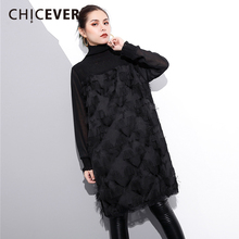 CHICEVER 2018 Spring Black Tassel Women Dress Female Patchwork Lace Long Sleeve Loose Big Size Pullovers Dresses Clothes Fashion