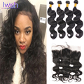 Iwish Brazilian Body Wave With Closure 4 Bundles Brazilian Body Wave With Frontal Closure Brazilian Human Hair With Closure