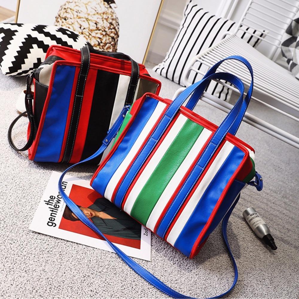 Women Bag Large Capacity Tote Bag Ladies Famous Brand  new tide fashion  color bar hit hand shoulder bags Messenger Rainbow bag