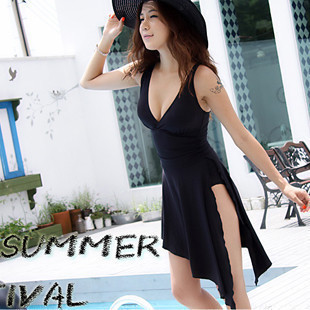 New Style Sexy Asymmetric Swimdress One Piece Swimsuit With Pad  HT#24