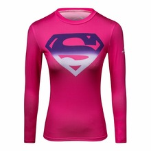 superman 3 d printed t-shirts women compression ladies long sleeve shirt Cosplay costume fitness shirt for w