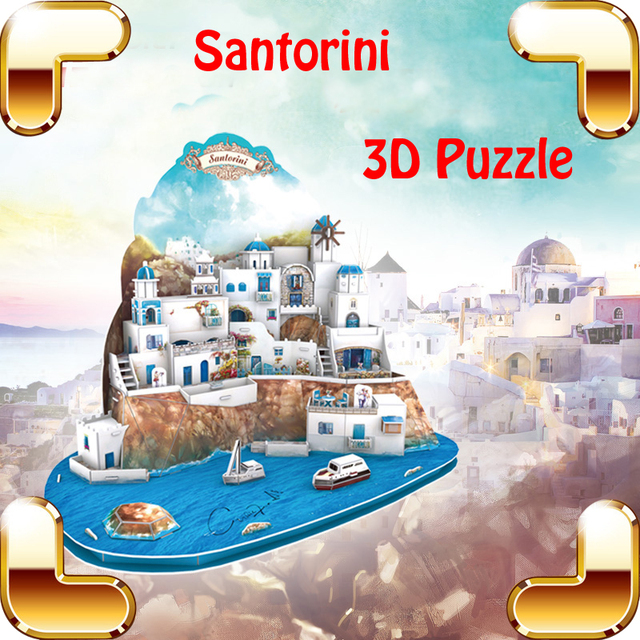 New Year Gift Santorini Island 3d Puzzle Model Diy Building Scenery