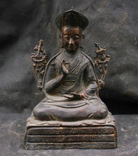 Chinese Folk Fengshui Old Antique Copper Brass Statue Guru Buddha Sculpture