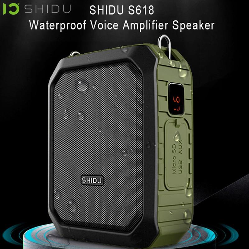 SHIDU Waterproof IPX5 Wireless Portable Voice Amplifier UHF Mini Audio Speaker For Teacher Support AUX TF Card U Flash Disk M800 tf card u disk mini mp3 dfplayer audio voice module board for arduino dfplay wholesale player