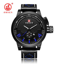 Hot Sale Fashion OHSEN Male Business Dress Quartz Watch Men Waterproof Blue Dial Wristwatch Leather Band Men Watch Orologio Uomo стоимость