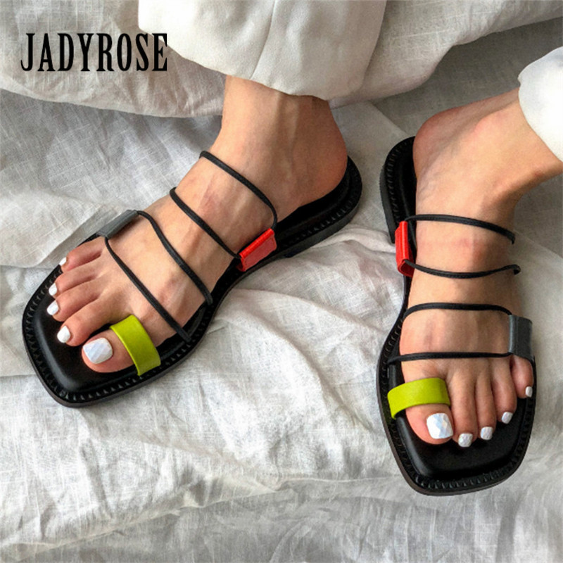 Jady Rose 2019 Hot Summer Sandals Women Gladiator Sandal Flat Shoes Woman Casual Slippers Beach Flats Sandalias Mujer Slides-in Low Heels from Shoes    1