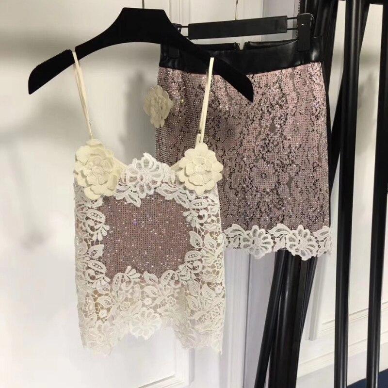 skirt set women 2 piece set women skirt top elegant 2018 camis top and mini skirt lace suits sets
