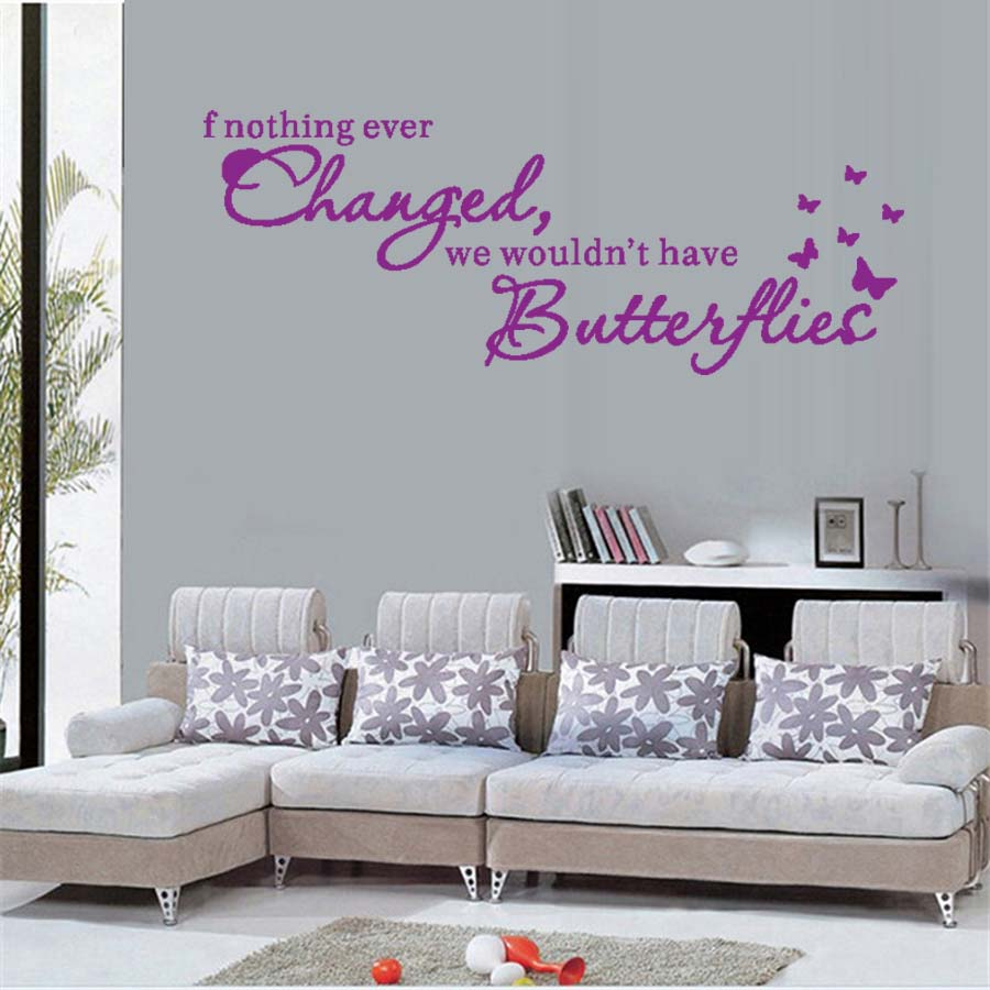 Butterfly Flower Wall Art Sticker Modern Wall Decals Quotes If Nothing Ever Changed Vinyl Lettering Wall Stickers Home Decor image