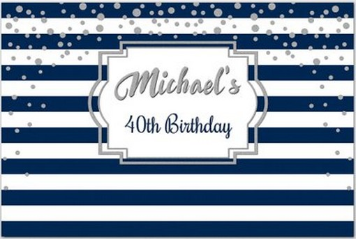 Custom Navy Silver Polka Dot Blue And White Striped <font><b>40th</b></font> <font><b>Birthday</b></font> <font><b>backdrop</b></font> Computer print party background image