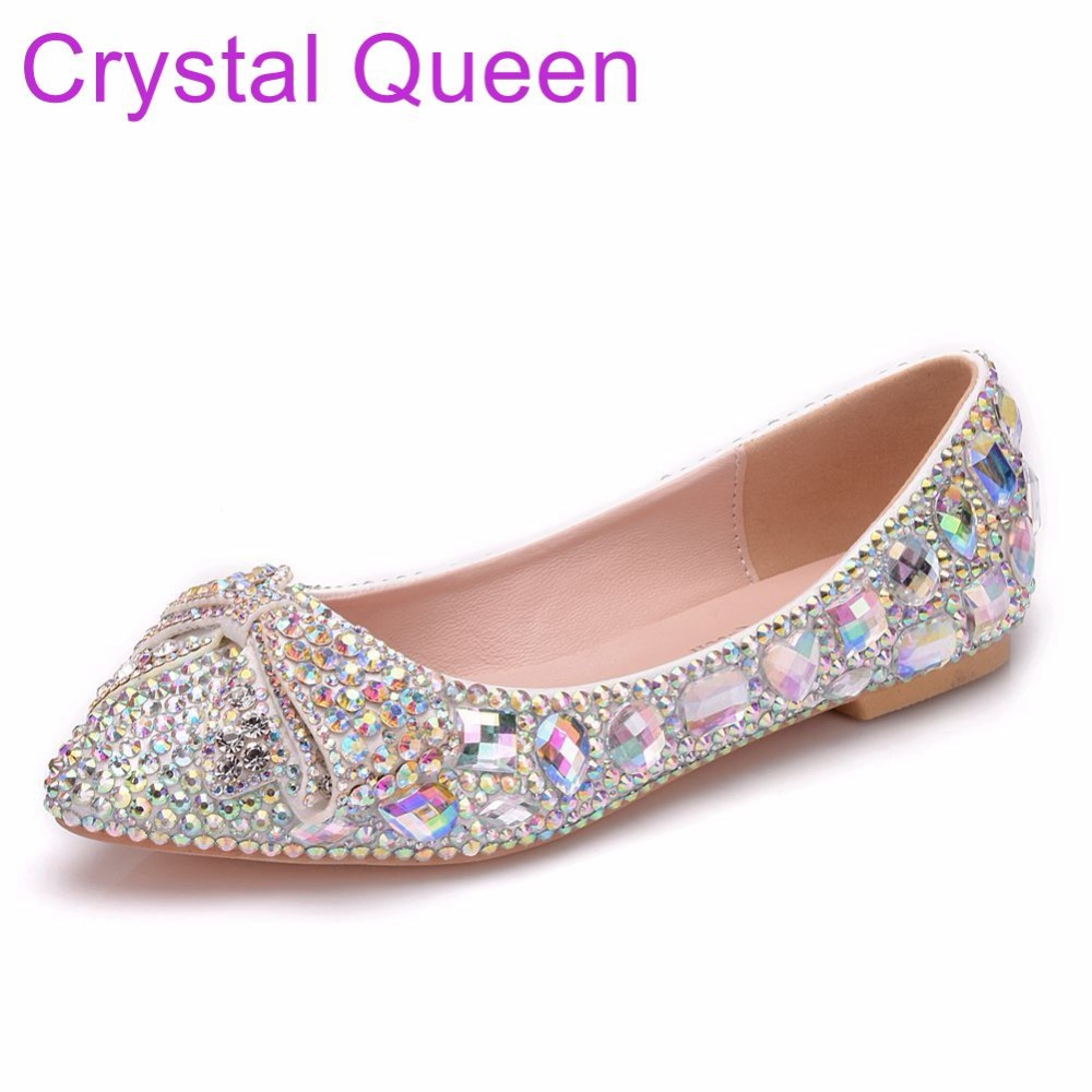 ae5c789f532 Crystal Queen Women Shoes Flats Pointed Toe Plus Size Wedding Shoes Flat  Heel Rhinestone Ballet Flats