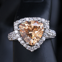 Incredible Champagne Morganite Zircon Gems 925 Sterling Silver Solitaire Ring Size 6 / 7 / 8 / 9 S1433