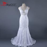 2017 New Cheap Boho Beach Lace Romantic Wedding Bridal Dress Sexy Mermaid Deep V neck High Quality Real Photo Amazing Elegant