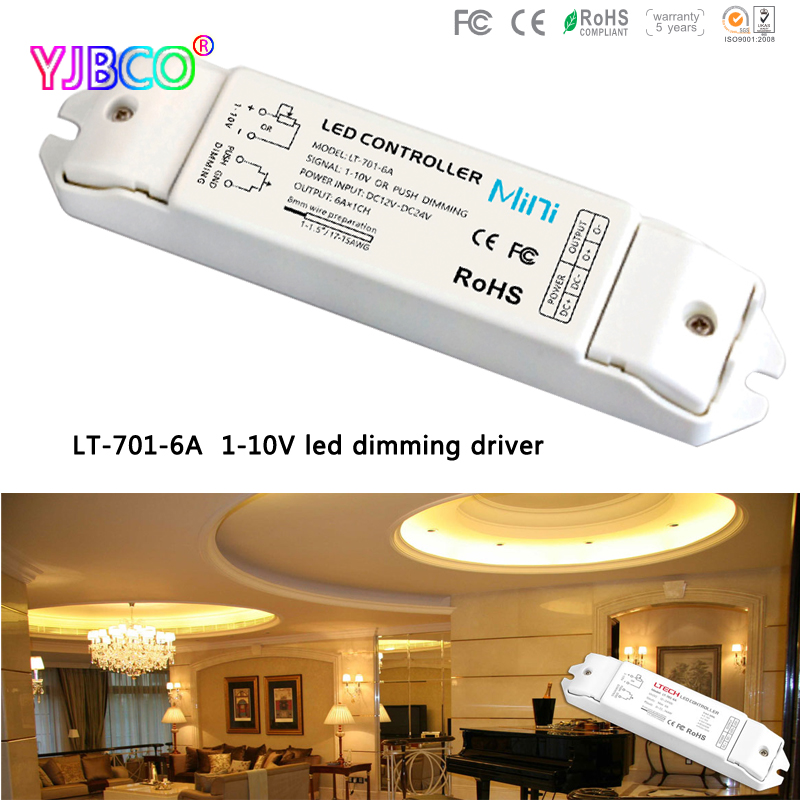 купить Free shipping LT-701-6A;0/1-10V LED dimming driver;DC12-24V input;6A*1CH output 5 years guarantee led controller недорого