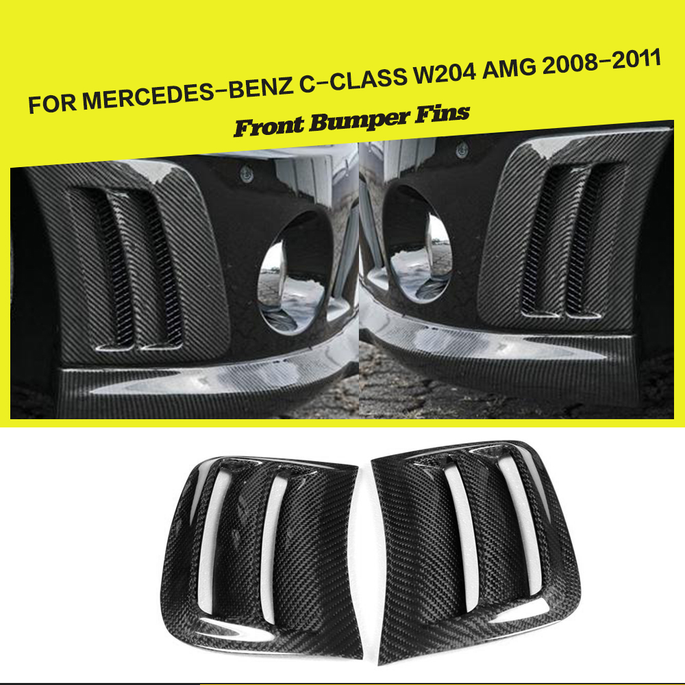 Car-Styling Carbon Fiber Front Side Air Fenders Vents Panels Trims For Benz C-class W204 C63 AMG 2008-2011