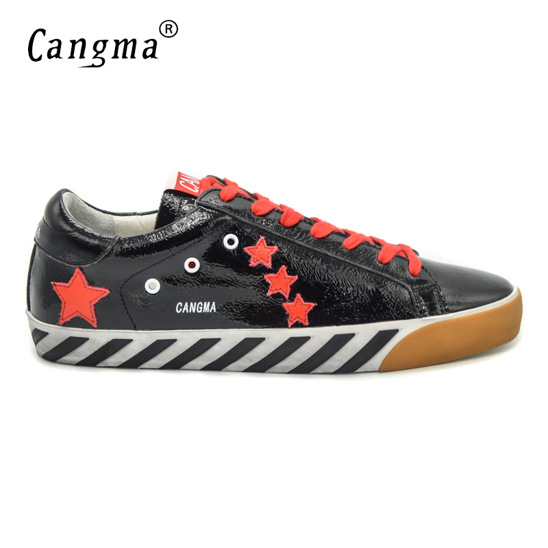 CANGMA Original Italy Deluxe Brand Men Shoes Genuine Leather Superstar Male Casual Black Handmade Shoes Scarpe Uomo Calzado 2017 cangma original italy deluxe brand men golden shoes women handmade silver genuine leather goose shoes scarpa stella sapato 2017