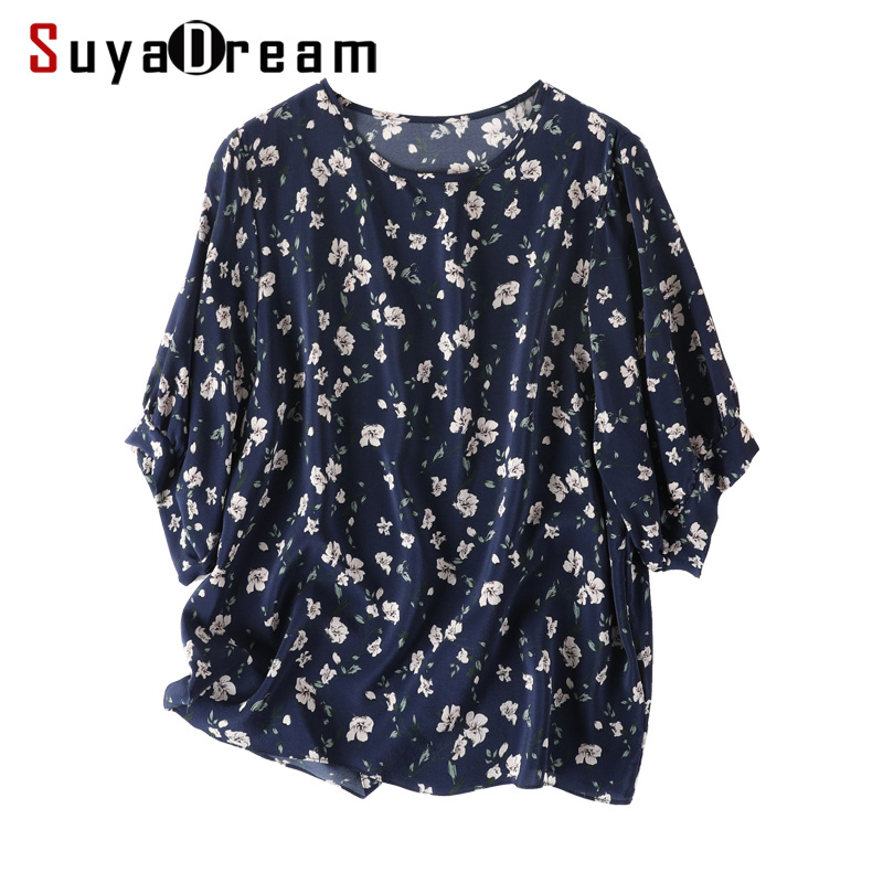 Women Blouse 100 REAL SILK Crepe Lantern Sleeved Floral Print Blouse Shirt O neck 2019 Spring